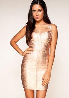 Gold Metallic 'DANIELLE' ROSE GOLD BANDAGE DRESS USD $197