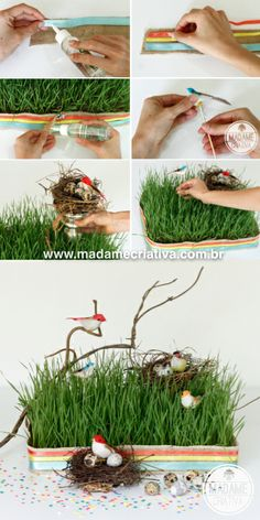 Inexpensive Easter Centerpiece using wheat grass. It grows in about 7 to 10 days. Good idea for any other special occasion! - The birds are so cute!  #wheatgrasscrafts