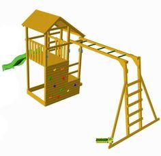 el parque infantil teide de la marca masgames es una torre de madera cuadrada resistente y bonita el parque infantil es ideal para que jueguen y se