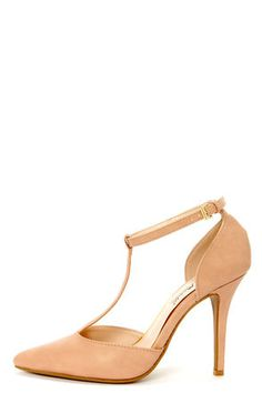 Check it out from Lulus.com! Your single sole style is about to pick up some serious speed from the Anne Michelle Momentum 40 Nude T-Strap Pointed Pumps! Burnished vegan leather split upper pairs a timeless pointed toe with an elegantly cupped heel, while the d'Orsay cutout in-between is topped with a sleek T-strap that fastens at the ankle with an adjustable golden buckle (and hidden elastic). 4
