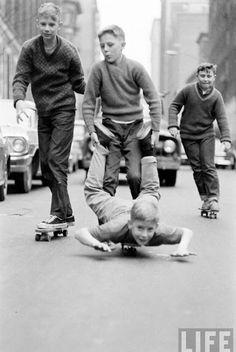 Skateboarding in NYC, 1960