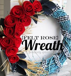 I'm going to try my own version of this wreath, love the felt roses!!