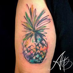 Watercolor+Abstract+Pineapple+Tattoo+by+inkbyaballar