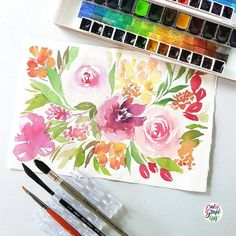 """1,340 Likes, 18 Comments - Calligrafikas by Drew Europeo (@calligrafikas) on Instagram: """"I love using different kinds of brushes for my loose florals. They give me different brush markings…"""""""