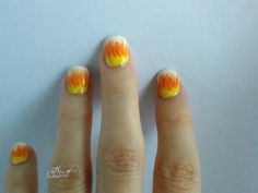 Halloween Painterly Candy Corn nail art | Anid Harker on Hearty Nails