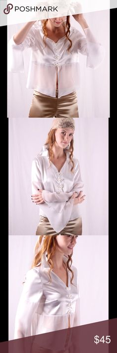 """Satin and chiffon flair sleeve shirt in white This beautiful and sexy shirt can be dressed up and down, with jeans or satin pants. You will look like diva in club! Shirt is closing in front with hooks and loops as well as with decorative """"frog loops """". It's shear from under breast as well as bottom part of sleeves. BohoMoho Tops Blouses"""