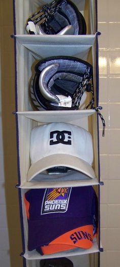 Baseball Hat Storage in hanging shoe shelves::