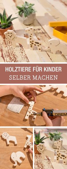 DIY-Anleitung mit Holz: Wir zeigen Dir zusammen mit unserem Partner #Dremel, wie Du Holztiere für Kinder selber baust, individuelle Geschenkidee / #diyinspiration and individualized gift idea for kids: wooden animals via DaWanda.com // #dawandaandfriends