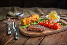 http://500px.com/photo/183871185 BBQ Steak by omarghomrawi -Here is the BQQ Steak!. Tags: dubaimeatrestaurantcornloversamericanstylingold styleuaeguidebeefsteakprimebarbecuepotatosmashedgrilledribeyefood loversFoodBBQPopular Tags