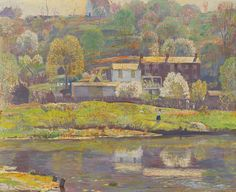 """Springtime-Lambertville,"" Daniel Garber, oil on canvas, 18 1/8 x 22 1/8"", private collection."
