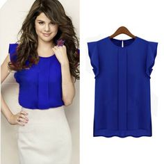 Pin Women Blouses Chiffon Clothing Autumn Lady Blouse/Shirt Sale Ruffle Short Sleeve Tops OL Blouse 3Colors to one of your boards if you like it !