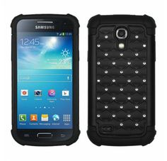 SAMSUNG Galaxy S4 mini Black Black Luxurious Lattice Dazzling TotalDefense Protector Cover