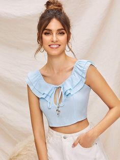 To find out about the Tie Neck Layered Ruffle Tie Back Crop Top at SHEIN, part of our latest Women Tops ready to shop online today! Indian Blouse Designs, Moda Chic, Crop Top Outfits, Fashion Designer, Linen Blouse, Stylish Tops, Denim Top, Fashion Sewing, Cute Tops