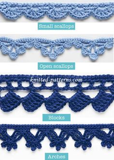 Learn how to crochet four different edgings and trims: Small scallops, Open scallops, Blocks and Arches. Courtesy of knitted-patterns.com, these decorative edges are perfect for blankets, scarves, dresses, skirts, or any project you are working on. If you find these difficult, to make, watch the video tutorial below to learn how to crochet a pretty stitch. This …