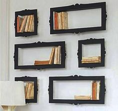 diy wall decoration ideas, wall shelves recycling frames and display cases