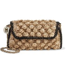 M Missoni Metallic textured crochet knit shoulder bag ($495) ❤ liked on Polyvore featuring bags, handbags and shoulder bags