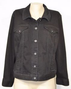 STYLE & CO. DENIM Black Stretch Denim Jean Jacket XL Unlined Classic Style #StyleCo #JeanJacket #Casual