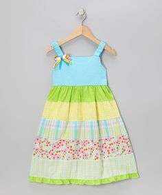 Take a look at this Blue & Lime Gingham Floral Tier Dress - Infant, Toddler & Girls by Rare Editions on #zulily today!