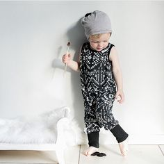 The coolest kid. 🙌🏻 James in his romper and grey slouchy… Black And White Baby, Slouchy Beanie, Baby Accessories, Baby Knitting, Cool Kids, Printed Cotton, Monochrome, Rompers, Baby Knits