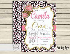 cheetah birthday invitation Cheetah print invitation custom color