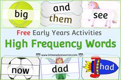 FREE High Frequency Sight Word Flashcards/Activities/Display for Early Years Settings/Home Learning — Little Owls Resources - FREE Home Learning, Learning Activities, Phase 1 Phonics, Beat The Parents, Nursery Practitioner, Early Years Teacher, Sight Word Flashcards, Literacy Games, High Frequency Words