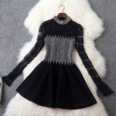 Slim beaded lace long-sleeved dress GR11404UY