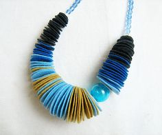 Felt Statement Necklace Ombre necklace in blue by AlinaandT, $32.00