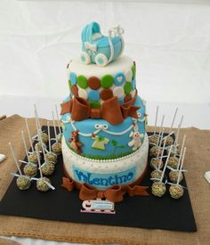 Baby shower boy cake. Stroller carriage cake