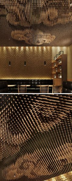 13 Amazing Examples Of Creative Sculptural Ceilings // The ceiling of this restaurant is made up of thousands of wooden sticks that were cut using specific calculations to increase the reality of the clouds.: