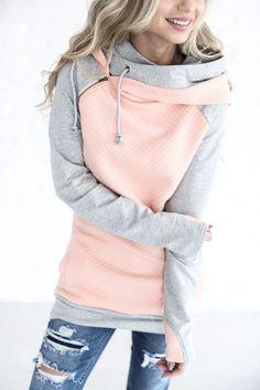DoubleHoodTM Sweatshirt - Quilted Peach