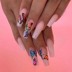 On average, the finger nails grow from 3 to millimeters per month. If it is difficult to change their growth rate, however, it is possible to cheat on their appearance and length through false nails. Cute Acrylic Nail Designs, Best Acrylic Nails, Butterfly Nail Designs, Best Nail Designs, Acrylic Spring Nails, Summer Nail Designs, Colored Acrylic Nails, Butterfly Nail Art, Spring Nail Art
