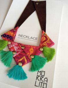 Handmade Guatemalan Fabric Bib Necklace on Etsy Tassel Jewelry, Textile Jewelry, Fabric Jewelry, Diy Jewelry, Handmade Jewelry, Jewellery, Fabric Necklace, Diy Necklace, Guatemalan Textiles