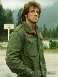 "Sylvester Stallone as John Rambo, a Vietnam vet who suffers from PTSD, in ""First Blood"" Humphrey Bogart, Lauren Bacall, Sylvester Stallone Rambo, Stallone Movies, Movie Stars, Movie Tv, Louis Gossett Jr, Stallone Rocky, Silvester Stallone"