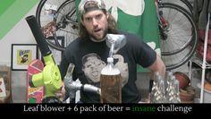 Leaf blower  6 pack of beer = insane challenge #starsingles