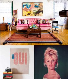 Who doesn't love a great pink sofa?   Eclectic Decor | Guest Post by sfgirlbybay. |