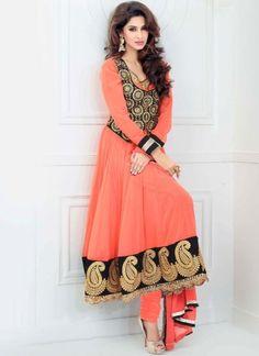 Tomato Red Black Embroidery Zari Work Designer Georgette Anarkali Suit http://www.angelnx.com/Salwar-Kameez/Anarkali-Suits