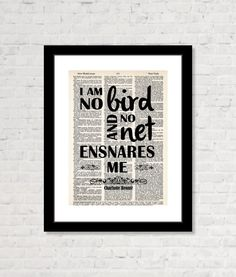 Charlotte Bronte   Jane Eyre  I Am No Bird And by BluePoppyGallery