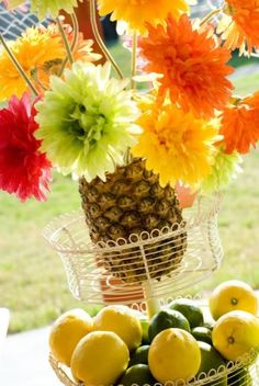 gut a pineapple and fill it with flowers
