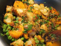 Indian-style potato and pea salad with chat masala