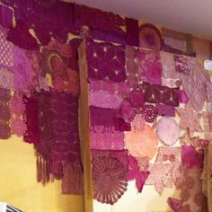 Anthropologie purple shades doily display, wall art, decoration from old vintage doilies