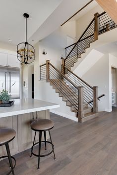 Grey Hardwood Floors With Open Staircase Amp Steel Railings