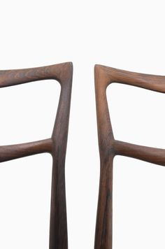 H.W Klein dining chairs in palisander and black leather, produced by Bramin in Denmark at Studio Schalling