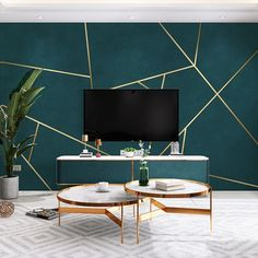 Dark Green Living Room, Accent Walls In Living Room, Accent Wall Bedroom, Living Room Simple Wallpaper, Bedroom Green, Green Rooms, Room Ideas Bedroom, Green Accent Walls, Dark Green Walls