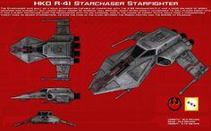 http://unusualsuspex.deviantart.com/art/R41-Starchaser-Starfighter-ortho-New-550614605