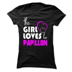 (Top Tshirt Discount) girl loves her Papillon at Tshirt United States Hoodies, Tee Shirts