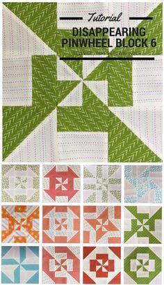Block 6: Disappearing pinwheel sampler quilt tutorial