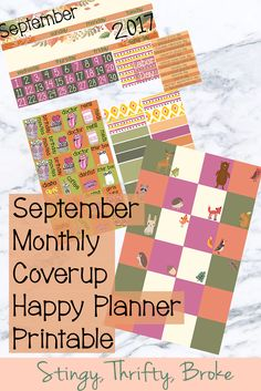 Free Printable September Monthly Coverup - Stingy, Thrifty, Broke