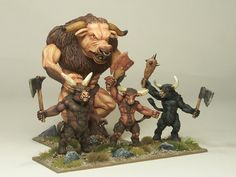 HUGE....no:  HUMUNGENOUS! beastman. the regular beastmen out front are getting on for twice the size of a human. I didn't even know we had this one. He can't have been released.