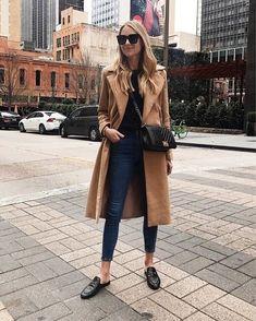 Fall Fashion camel coat and skinny jeans Instagram Mode, Instagram Fashion, Look Fashion, Korean Fashion, Fashion Outfits, Jeans Fashion, Fashion Clothes, Fall Fashion, Fashion Jewelry