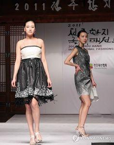 "Dresses made of ""hanji"" a traditional Korean Paper"